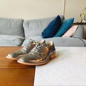 Silver women's dress shoes
